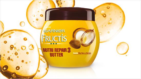 … la mascarilla Fructis Nutri Repair 3 Butter, especialmente formulada para cabello muy seco y dañado…