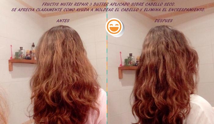 El antes y después del pelo de la bopki Alexia84 tras haber usado la mascarilla Fructis Nutri Repair 3 Butter