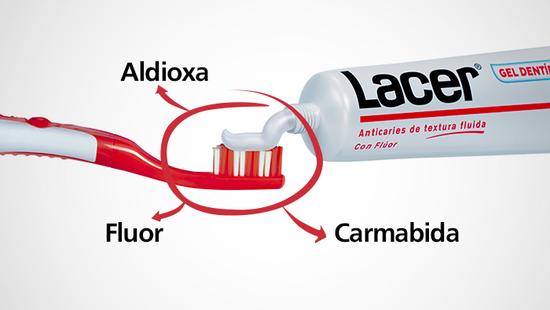 Gracias a su composición con Flúor, Aldioxa y Carmabida, el Gel dentífrico Lacer garantiza una limpieza completa…