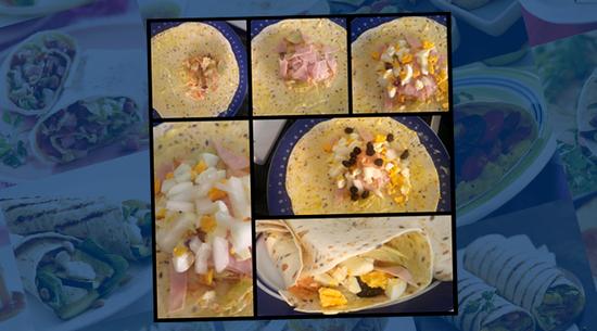 Y para la segunda receta, ¿qué necesitamos? Rellenamos 1 wrap Multigrain con mantequilla, ensalada 4 estaciones, salsa cocktail, 1 huevo duro, pechuga de pavo y pasas.