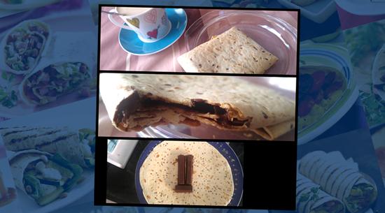 Y para endulzar la boca, la tercera receta: 1 wrap Multigrain con 2 barritas y media de chocolate negro para postres. Lo calentamos en el horno a 180 ºC durante 5 minutos y listo. ¡Qué rico! :)