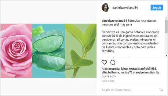 La bopki danielazi hablando de SkinActive en Instagram